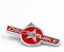 NEW Metal Chrome Red OSCAR MIKE Car Trunk Tailgate Emblem Badge Decal Sticker