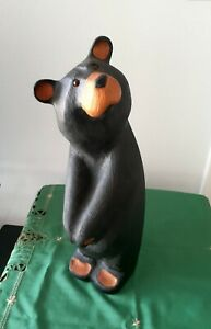 "Big Sky Bears Carvers Jeff Fleming Wood Carved Golfer Bear 20"""