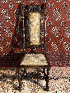 Antique Victorian Gothic Period Upholstered Throne  Chair