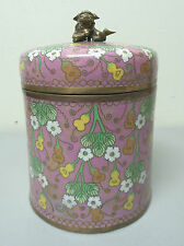 Large 19th C. Ming Dynasty Chinese Cloisonne Lidded Box / Humidore, Foo Dog Top