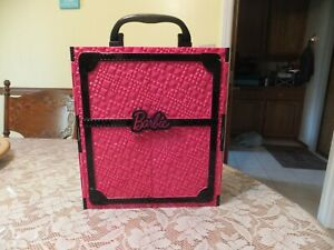 Vintage Pink & black plastic Barbie for doll & clothes carrying Case