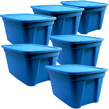 NEW Great Solutions 20055306 Set Of Six Blue 5 Gallon Tote Storage Boxes W/Lids