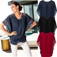 Women's Lace Batwing Chiffon T-shirt Shirt Blouse Top Loose Work Office Clothes