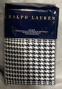 RALPH LAUREN Lombard ONE KING SHAM Screening Room Navy Cream Houndstooth MSP$215