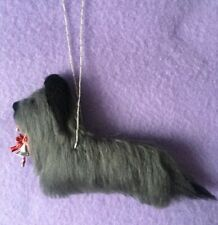 More details for christmas skye terrier with candy cane decoration part needle felted dog