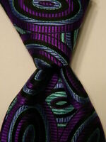 ROBERT TALBOTT Best of Class Silk XL Necktie Luxury Geometric Purple/Black NWT