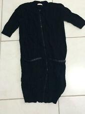 WOMEN'S BLACK ZIP UP 'HOT OPTIONS' TUNIC TOP/DRESS. SIZE 6. BNWOT (C85, d6)
