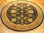 6 x 6 Black New Round Jaipur (72 x 72 in) Wool Handmade Rug