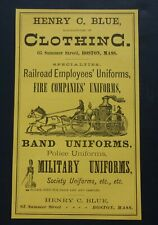 RARE 1881 Antique Ad Henry C. Blue Clothing - Fire Company Uniforms Military Vtg
