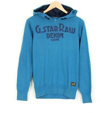 G-STAR NEW RATE HOODED KNIT L/S Blue Cotton Hoodie Sweatshirt Men Size M
