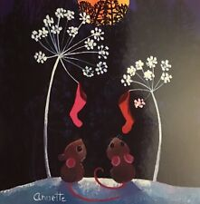 MINI CHARITY CHRISTMAS CARD 'Moonlight Mice' SINGLE CARD App 10cm Square
