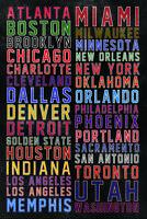 NBA National Basketball Association USA Team Cities Sports Poster - 12x18
