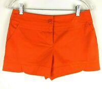 Trina Turk Womens Shorts Size 2 Orange Cotton Stretch side pockets scalloped hem