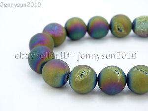 """Metallic Titanium Coated Druzy Quartz Agate Gemstones Round Beads 15"""" 8mm 10mm"""