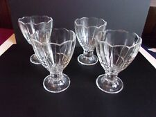 4 Vintage Clear Glass Ice Cream Sundae Parfait Footed Glasses Made in Italy
