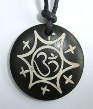 Resin Carved Antique Style Om on Cord Necklace - Hippy Boho Yoga Peace Yin Yang