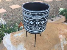 Aztec  Tribal Black Pot on Metal Stand Geometric Nordic Style High Quality