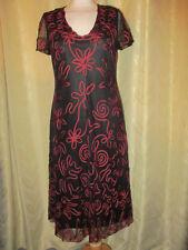 DEBENHAMS SIZE 10 LADIES BLACK & RED BRAIDED NET SPECIAL OCCASION DRESS