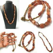 Beautiful Antique African Old Carnelian Agate Stone Beads Strand Necklace