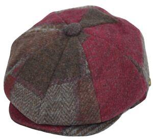 Thick Wool Herringbone Newsboy Cap Patchwork Driving Cabbie Tweed Applejack Hat