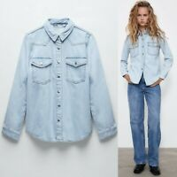 NEW Zara 100% Cotton Light Blue Wash Denim Shirt Jacket Shacket Medium