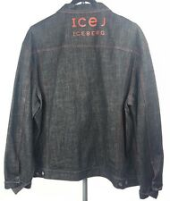 ICEBERG Mens Black Denim Hip Hop Spell Out Jean Jacket sz 56 3XL Made in Italy