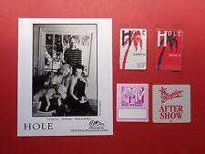 HOLE,COURTNEY LOVE,1 Promo Photo,4 VERY Rare ORIGINAL Backstage Passes