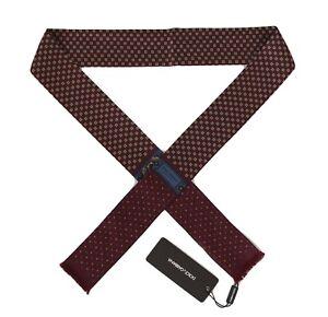 NEW $220 DOLCE & GABBANA Scarf Bordeaux 100% Silk Pattern Skinny Necktie 140x25