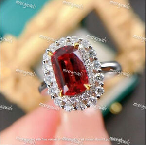 4Ct Cushion Cut Red Ruby Double Halo Engagement Ring 14K White Gold Finish