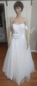 David's Bridal White Strapless Wedding Dress size 10 BRAND NEW W/TAGS