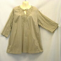Peasant Tunic Embroidered Top 2X Costume? Boho Hippie Gypsy Shirt Beaded Tie