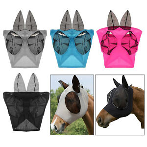 Pony Horse Fly Mask Veil Hood Full Face Ears Nose Mesh Insects Protection Cover