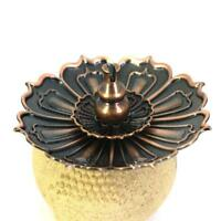 Alloy Lotus Incense Burner Holder Censer Plate Sticks Cone Coil Home Decor