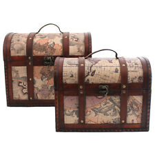 X LARGE Treasure Chest with Vintage World Map Design ~ Domed Hinged Lid