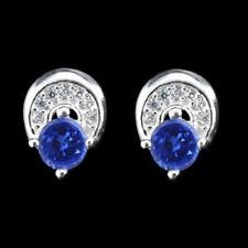 2.15 Carat 14KT White Gold Natural Blue Tanzanite EGL Certified Diamond Studs