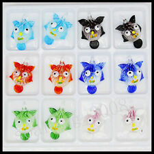 12 Pcs Smiling face Crystal Murano art glass beaded leather pendant necklace