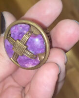 "Jan Michaels Of San Francisco Brass ""Matrix"" Ring - w/ Purple Stone Cross Center"