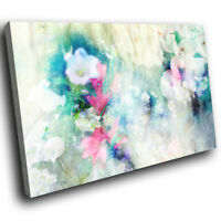 ZAB1579 Blue Pink White Flower Modern Canvas Abstract Wall Art Picture Prints