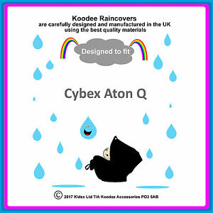 """RAINCOVER by Koodee designed to fit """"Cybex Aton Q"""" Car Seat Made in the UK BNIP"""