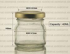 240 pcs 40ml mini glass ROUND jar with gold cap for jam honey food wedding etc