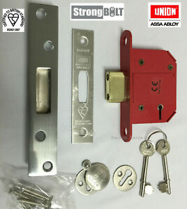 """Union 81mm (3"""") StrongBOLT - BS 5 Lever Mortice Deadlock Satin Stainless Steel"""