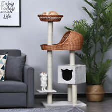 More details for pawhut cat condo tower tree pet scratching post hooded rattan wicker w/mat -1.3m