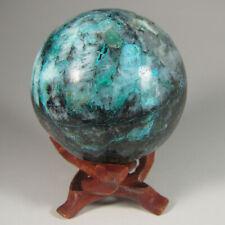 "2.4"" Blue CHRYSOCOLLA in QUARTZ Gemstone Sphere Ball w/ Stand – Peru - 60mm"