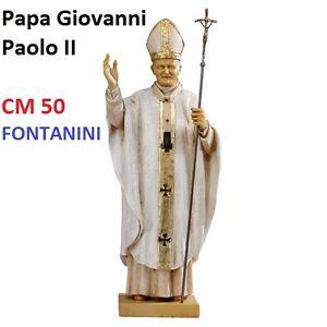 Statua religiosa FONTANINI papa giovanni paolo II veste bianca cm 50 in resina