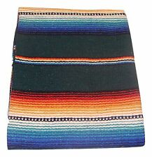 #776 Blanket Throw Sarape Bed Cover Green Mexico Beach Yoga Mat Travel 5'x7' New