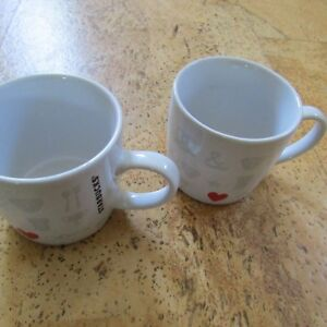 Starbucks White Mugs Red Heart Set of Two 7.8 Oz.