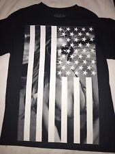 "POPULAR POISON Men's T-Shirt ""American Flag""  -Black Tee M  100% COTTON"