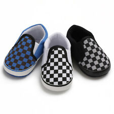 Plaid Baby Boys Black Shoes First Walkers  Newborn Shoes Soft Soled  Shoes