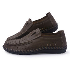 Men Hollow Out Driving Shoes Casual Cowhide Shoes Slip On Loafers Boat Shoes