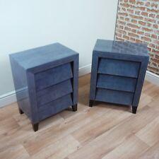 1 RV Astley Dark Grey Shagreen 3 Drawer Contemporary Bedside Cupboard Glass 50s